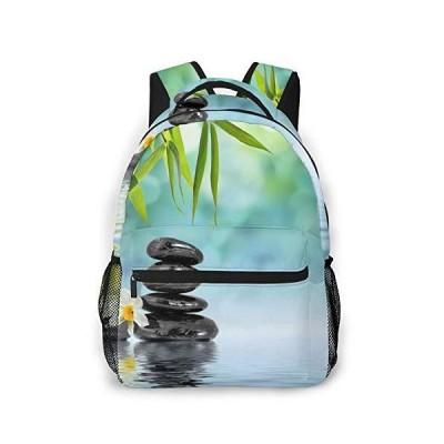 Zen Stones And Bamboo Unique Outdoor Shoulders Bag Fabric Backpack Multipur