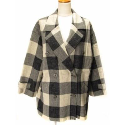 【中古】ロートレアモン LAUTREAMONT コート ダブル チェック M 黒×白 レディース