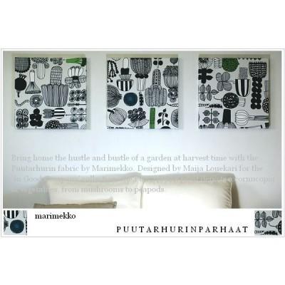 ファブリックパネル アリス marimekko PUUTARHURIN PARHAAT 40×40cm 3枚組 ホワイト 薄グレー マリメッコ プータルフリン パルハート 壁インテリア 壁掛け 北欧