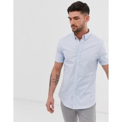 ニュールック メンズ シャツ トップス New Look oxford shirt in muscle fit in light blue Light blue