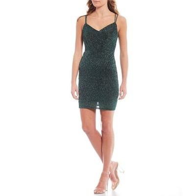シティヴァイブ レディース ワンピース トップス Strappy-Back Pleated Glitter Sheath Dress