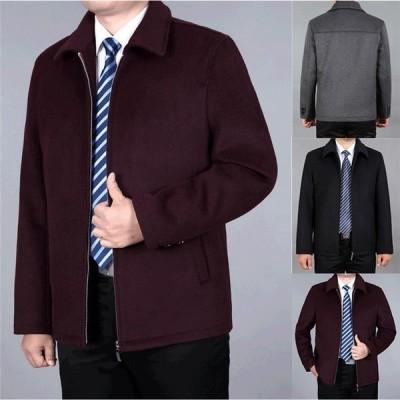 ウールコート ビジネスコート メンズ オシャレ ラシャ 防寒着 アウター 冬 秋 紳士服 かっこいい メルトンコート ジップアップ