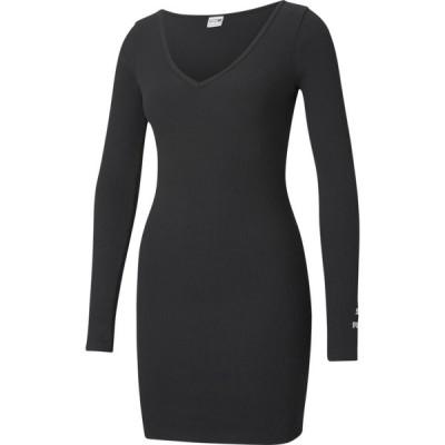 プーマ PUMA レディース ボディコンドレス タイト ワンピース・ドレス Classics Ribbed Bodycon Dress Black/White