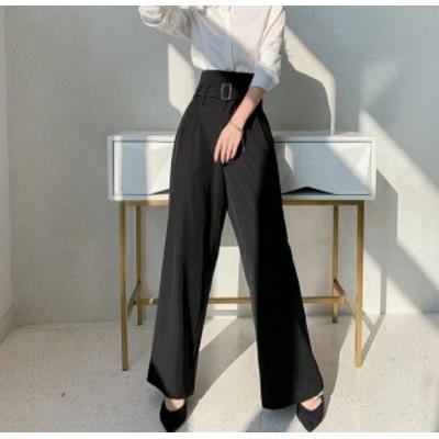 韓国 ファッション レディース ワイドパンツ ハイウエスト タック ロング丈 無地 きれいめ 大人可愛い 上品 フォーマル お呼ばれ 通勤