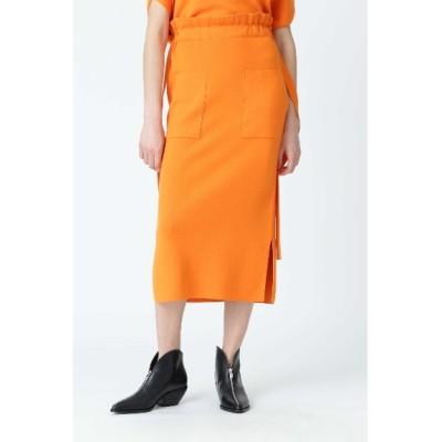ADORE (アドーア) レディース コットンシルクタイトスカート オレンジ(150) 38