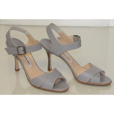 ハイヒール マノロブラニク Manolo Blahnik GREY Matte Leather Sandals Shoes Hells 40.5