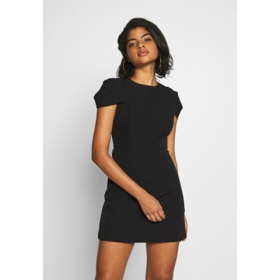 フォーエバー ニュー ワンピース レディース トップス PETAL SLEEVE OPEN BACK SHIFT - Shift dress - blackporcelain
