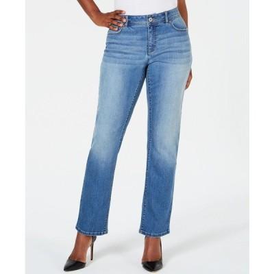 アイエヌシーインターナショナルコンセプト デニムパンツ ボトムス レディース INC Curvy-Fit Straight-Leg Jeans with Tummy Control Heavenly Wash