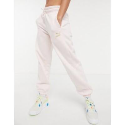 プーマ レディース カジュアルパンツ ボトムス Puma oversized sweatpants in pink and gold Rosewater