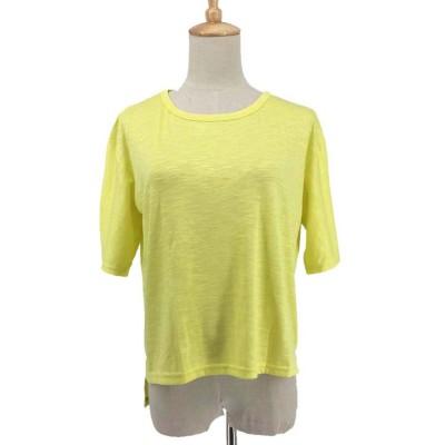 (miniministore/ミニミニストア)tシャツ レディース 半袖 カットソー ラウンドネック 無地 トップス シンプル 即納/レディース イエロー