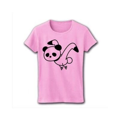 カモメぱんだ リブクルーネックTシャツ(ライトピンク)