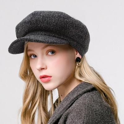 ハンチングキャスケットベレー帽レディース帽子ハット秋冬キャップ小顔効果無地つば付きハンチング帽可愛い冬小物
