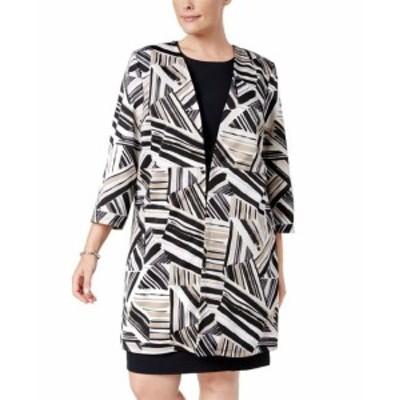 ファッション 衣類 Kasper NEW Brown Womens Size 16W Plus Striped Hook Topper Jacket