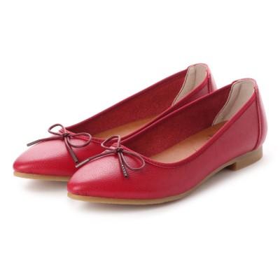 ラブ ピクル RUB PICLE 日本製/ナチュラル人工皮革リボンデザインポインテッドシューズ (RED)