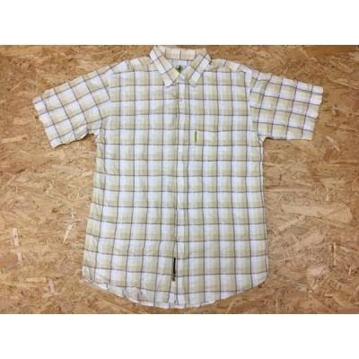 BODY GLOVE ボディーグローブ L メンズ シャツ 半袖 トーンオントーンチェック 胸ポケット付き レギュラーカラー イエロー系×ブラウン系