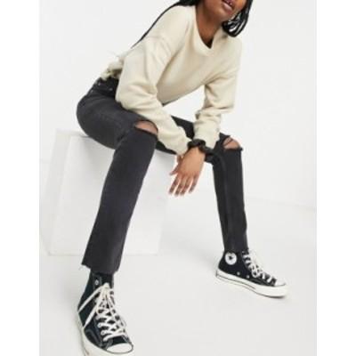 エイソス レディース デニムパンツ ボトムス ASOS DESIGN mid rise vintage 'skinny' jeans in washed black with rips Washed black