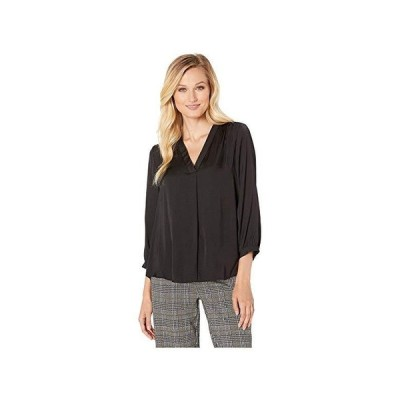 Vince Camuto 3u002F4 Sleeve V-Neck Rumple Blouse レディース シャツ トップス Rich Black