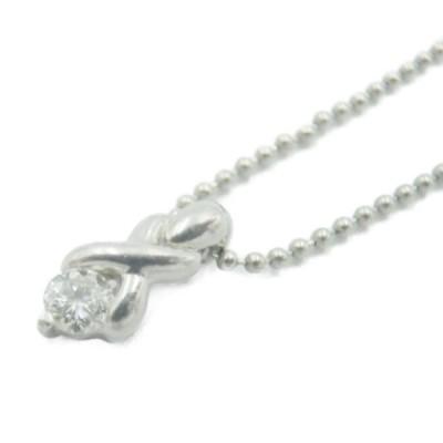 ダイヤモンド 0.10ct Pt850 デザイン ネックレス 中古 送料無料