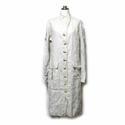 美品 errenno エレーノ 「40」リネンデザインコート (ベージュ 麻 ロハス 木製ボタン) 118289 【中古】