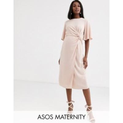エイソス レディース ワンピース トップス ASOS DESIGN Maternity twist front midi dress with angel sleeve Smoke pink