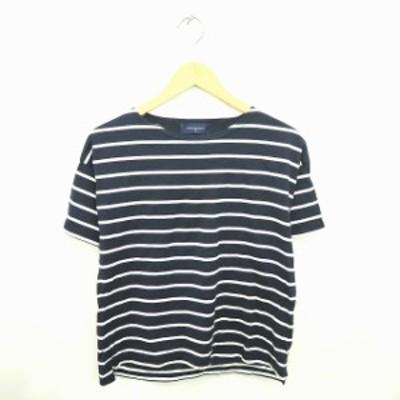 【中古】アーバンリサーチ カットソー Tシャツ ボーダー ボートネック 綿 半袖 FREE 紺 白 ネイビー ホワイト
