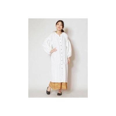【チャイハネ】パンチングレース&スパンコール刺繍ロングカーディガン ホワイト