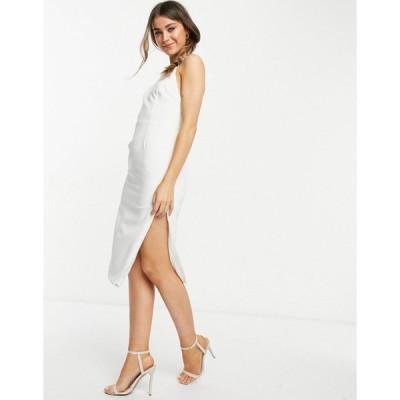 バルドー ミディドレス レディース Bardot high neck backless midi dress with thigh split in ivory エイソス ASOS ホワイト 白