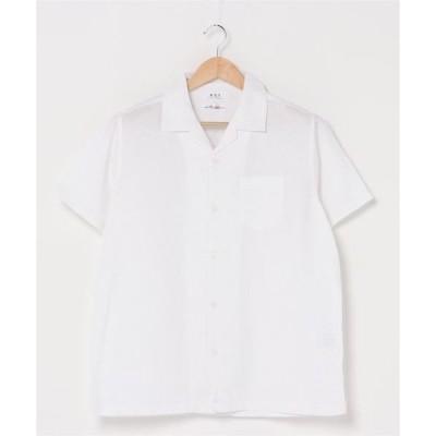 シャツ ブラウス 【BLUE STANDARD】パナマ半袖シャツ オープンカラー 開衿 無地