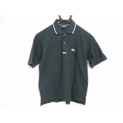 バーバリーゴルフ BURBERRYGOLF 半袖ポロシャツ サイズS メンズ - 黒×ベージュ【中古】20201127