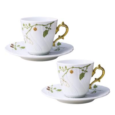 GINORI 1735 ジノリ1735  フィオーリヴェルディ ペア コーヒーカップ&ソーサー(L)