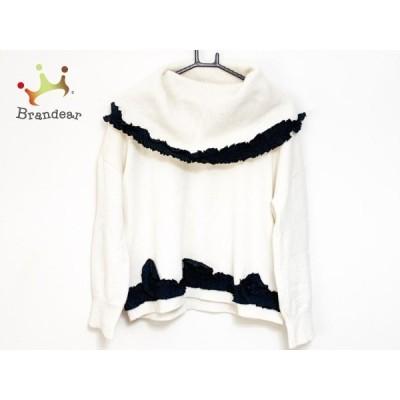 ロッセーララルディーニ ROSSELLA JARDINI 長袖セーター サイズ38 M レディース 白×黒 フリル      値下げ 20210810