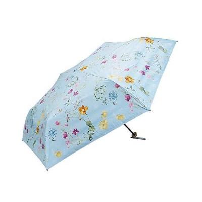 [マコッカ] 遮光率100% 遮蔽率99.9%以上 晴雨兼用 日傘 雨傘 軽量 折りたたみ傘 53cm ボタニカル花柄 ブルー