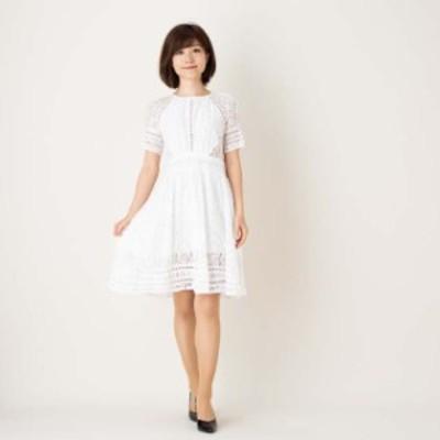 パーティードレス ワンピース 膝丈 ひざ丈 半袖 レース 結婚式 二次会 お呼ばれ 韓国白Lサイズ