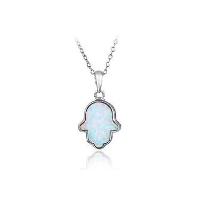 シルバースペック ジェムストーン スターリング シルバー Created ホワイト Opal Hamsa ネックレス