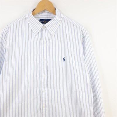古着 大きいサイズ ラルフローレン 長袖ボタンダウンシャツ メンズ US-Lサイズ ストライプ柄 ライトブルー系 hs-8782