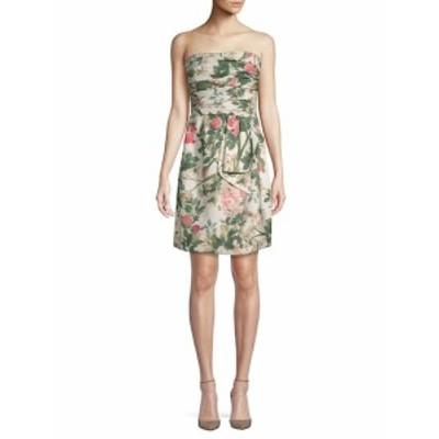 オスカーデラレンタ レディース ワンピース Printed Strapless Silk Dress