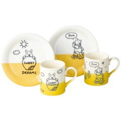 三郷陶器 SANGOU TOUKI くまのプーさん ハニーイエロー マグ&プレートセット 3530-02 キッチン用品