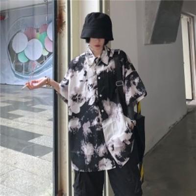ゴスロリ シャツ 絞り染め 半袖 ストリート系 ハードガール 病み可愛い ユニセックス パンク系 原宿系 オルチャン 10代 20代