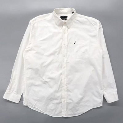 古着 ノーティカ NAUTICA ボタンダウンシャツ 長袖 ワンポイント ホワイト サイズ表記:16 1/2