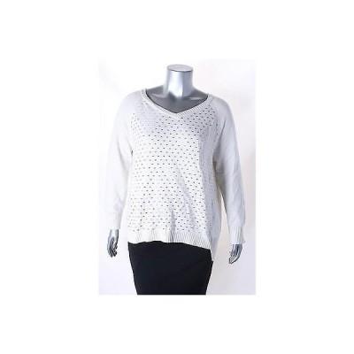 ディーケーエヌワイシー セーター ニット DKNYC アイボリー 長袖 V Neck Studded セーター サイズ XL 99 LAFO