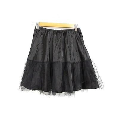 【中古】スウィングル Swingle スカート フレア ミニ チュール 1 黒 ブラック /AAM36 レディース 【ベクトル 古着】