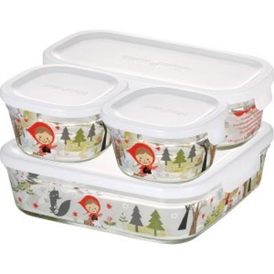 キッチン 食器 ギフト 送料無料 イワキ シンジカトウ パック&レンジ角型4点セット(プレシャスレッドフード)プレシャスレッドフード(PS-P