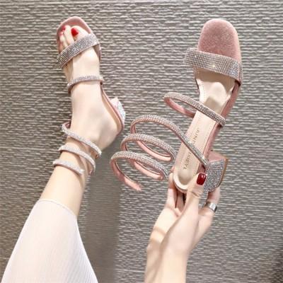 履きやすくて可愛い ヒール シンプル 高 楽ちん 靴パンプス CHIC気質 ミディアムヒール 痛くない 疲れない 歩きやすい サンダル 美脚 脚長 ワイルド サンダル ラインストーン パンプス