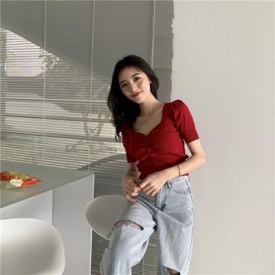 高校生 中学生 ファッション トップス レディース ファッション 半袖 夏 ニット シャツ おしゃれ かわいい 韓国 10代 20代 30代 6252