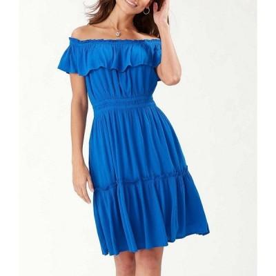 トッミーバハマ レディース ワンピース トップス Caicos Crinkle Gauze Off-The-Shoulder Cinched Waist Dress Turkish Sea
