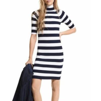 マイケルコース レディース ワンピース トップス Striped Knit Mock Turtleneck Dress Midnight Blue/White