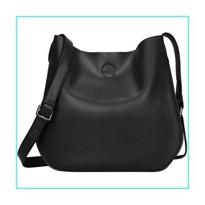 【新品】S-ZONE Women Leather Crossbody Bag Simple Shoulder Bag Drew Purse for Girl Ladies (Black)(並行輸入品)
