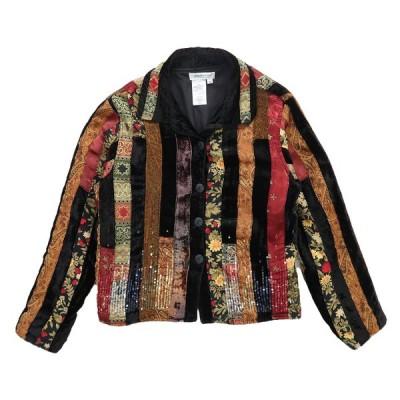 デザインジャケット ストライプ 総柄 マルチカラー サイズ表記:M