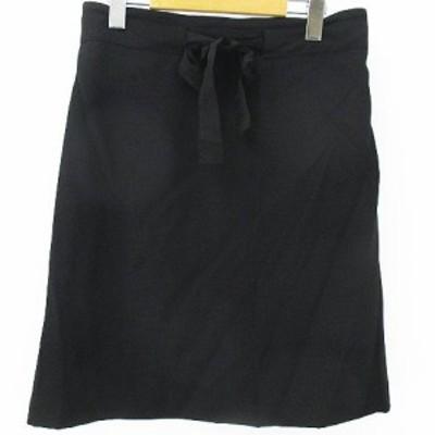 【中古】オフオン ofuon 膝丈 台形 スカート 38 ブラック 黒系 裏地 リボン  レディース