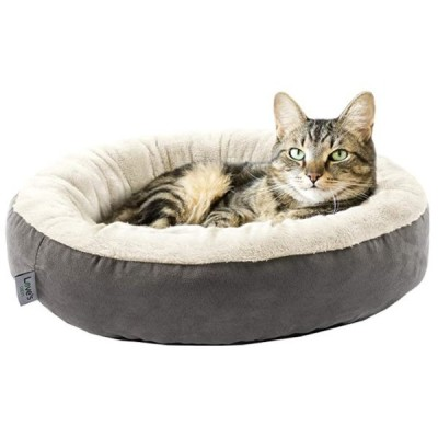 ペット用ベッド 小型犬 猫 ドーナツ型 滑り止め 50.8cm Grey